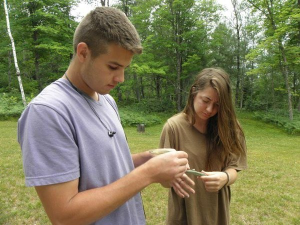 Students catch and investigate a smooth green snake